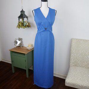 Leslie Fay Vintage Maxi Pencil Dress Blue Sz 6